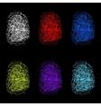 Set of color fingerprints on black background vector image