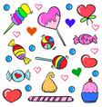 colorful candy various doodle style vector image
