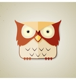 Cute little brown and light yellow cartoon owl vector image