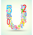 Letter U colored font from numbers vector image