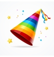 Realistic Party Hat with a Rainbow Pattern vector image