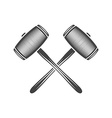 Two crossed sledge hammers Black on white flat vector image vector image