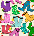 Seamless pattern of gumboots vector image