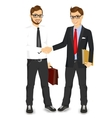 businessmen with glasses shaking hands vector image