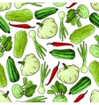 Cartoon spring vegetables seamless pattern vector image