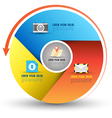 Circle three step with icons vector image