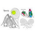 drawing set of isolated objects sneakers with vector image