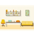 Flat living room with furniture and long shadows vector image