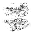 Hand Drawn Farm Landscape vector image