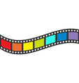 Rainbow flag Film strip frame Wave shape ribbon vector image