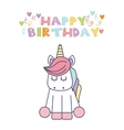 unicorn birthday card vector image