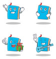 set of blue book character with successful vector image
