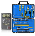 Multimeter of black color and set of different vector image vector image