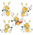 set of cute cartoon fireflies vector image