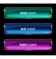 Set of glass green blue and purple banners vector image