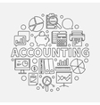 Accounting round linear vector image