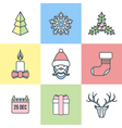 christmas outline color icons vector image
