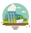 color landscape image geothermal energy production vector image