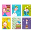 Cute Little Princess Kids Reading Fairy Tale Books vector image