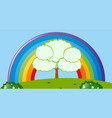 park scene with rainbow over the field vector image