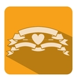 Square shape with set labels and heart vector image