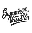 summer vacation hand drawn lettering phrase vector image