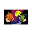 Halloween Mask Jack-O-Lantern Witch Retro vector image vector image