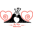 Valentines Day picture with couple of snails in vector image