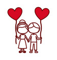 red silhouette of caricature faceless couple of vector image