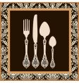 Menu card design with cutlery vector image
