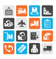 Silhouette shipping and delivery icons vector image