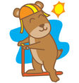 Bears playing scooter vector image