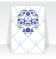 Template greeting card with blue pattern in gzhel vector image