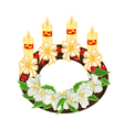 Christmas decoration wreath with white flowers vector image