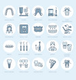 Dentist orthodontics line icons dental care vector image