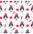 glam girl sketch beauty seamless pattern vector image