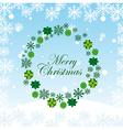 Green Advent wreath over snow sky vector image