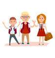 happy schoolchildren with bags waving their hands vector image