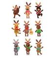 santa s reindeer set of vector image