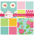 Set of Floral Seamless Patterns and Backgrounds vector image