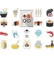 Japanese seafood menu flat icons vector image