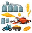 Agricultural set of harvesting items Combine vector image