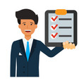 businessman with check list cartoon flat vector image