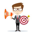 cartoon businessman holding target and megaphone vector image