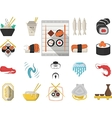 Japanese seafood menu flat icons vector image