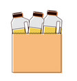 paper bag with drinks orange juice bottles in vector image