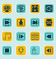 set of 16 audio icons includes note audio mobile vector image