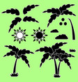 set of silhouettes of a cartoon palm tree vector image