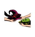 Hands Exchanging Halloween Mask Retro vector image vector image