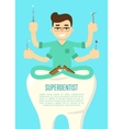 Superdentist banner with male dentist vector image